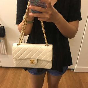 Chanel small classic flap in white lambskin